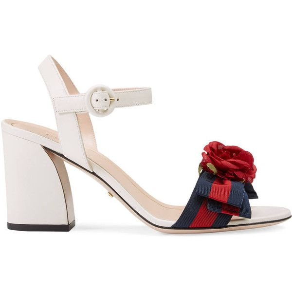 9c57573ae37934 Gucci Leather Mid-Heel Sandal (€730) ❤ liked on Polyvore featuring shoes