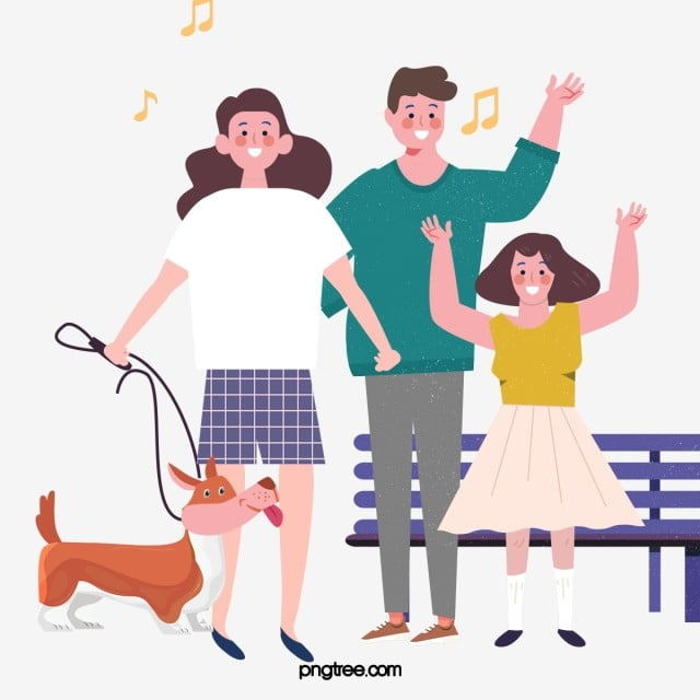 Hand Drawn Cartoon Family Walking Walking Dog Illustration Walk A Dog Family Hand Painted Png Transparent Clipart Image And Psd File For Free Download Family Cartoon Dog Illustration How To Draw
