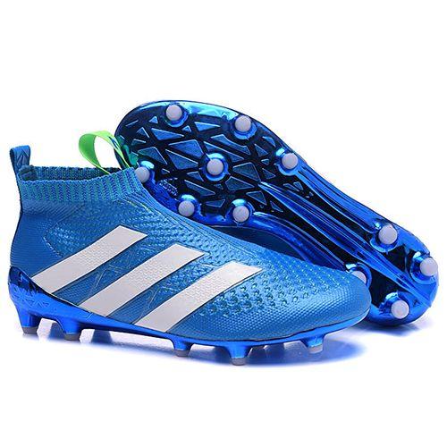 buy online 02a75 9a07b アディダスAce16靴紐なしサッカー ブルー シューズ - サッカーユニフォーム専門店|NBA・MLB・NFL|スポーツ用品通販
