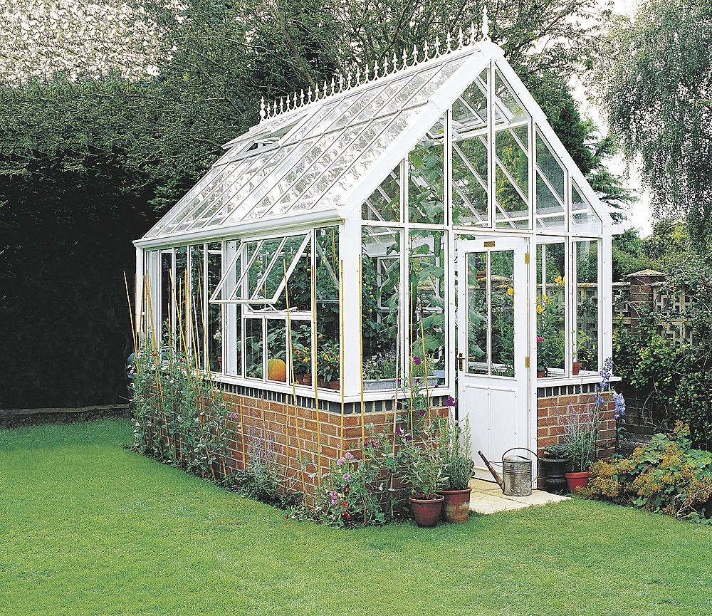 Love this beautiful victorian style greenhouse green for Garden greenhouse design