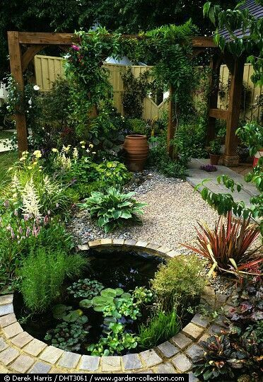 I love the small round pond in this courtyard!   Garden ... on Courtyard Pond Ideas id=33531