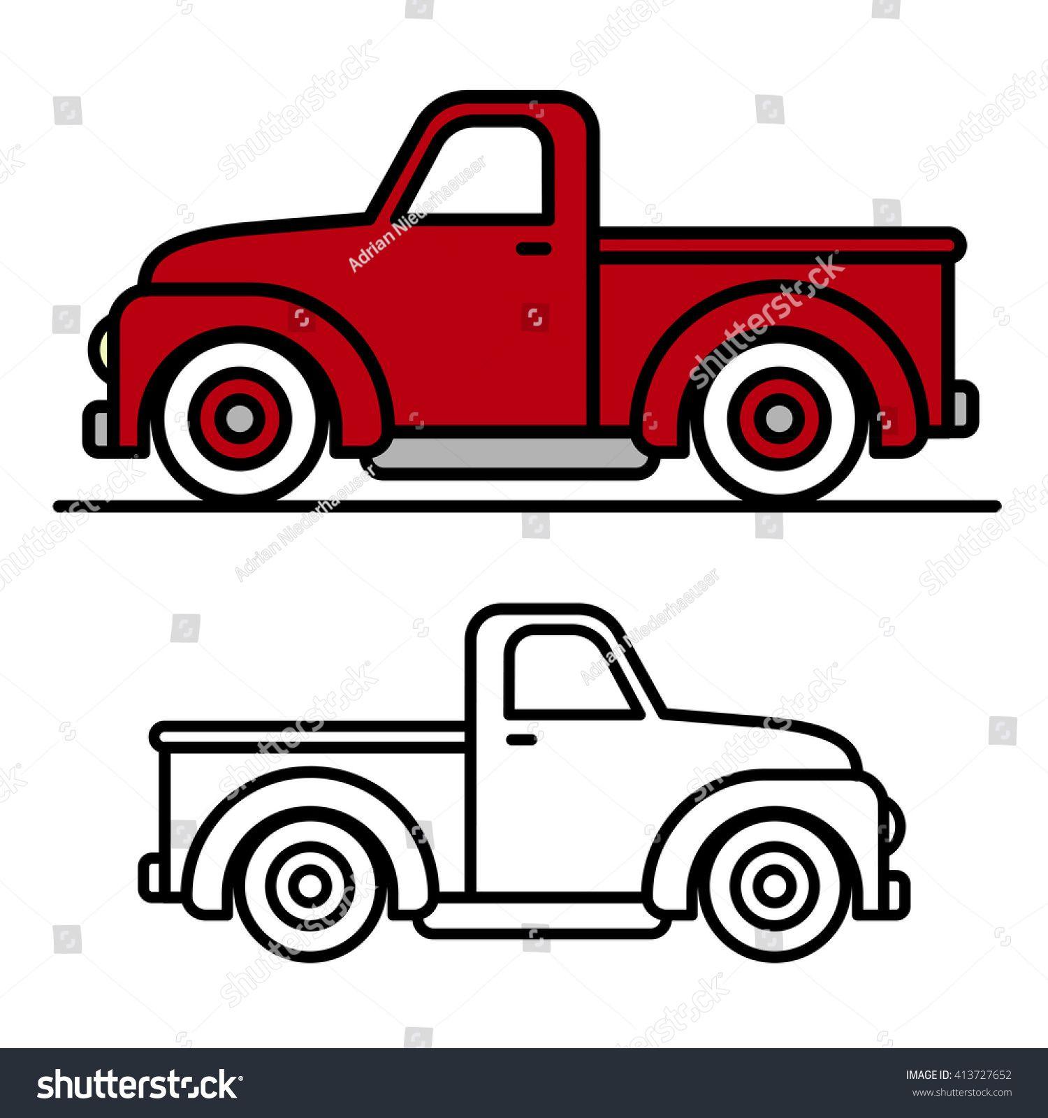 Two cartoon vintage pickup truck outline drawings, one