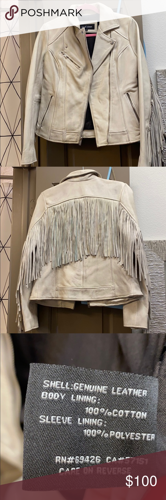 All white leather fringe jacket XS by Black Rivet in 2020