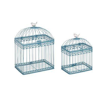 Woodland Imports 2 Piece Adorable and Unique Bird Cage Set Color: Aqua Blue