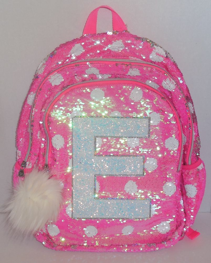118b9922f0 Girls JUSTICE Flip Sequins Backpack Bookbag Initial E Pink White Dots New  School  Justice  Backpack