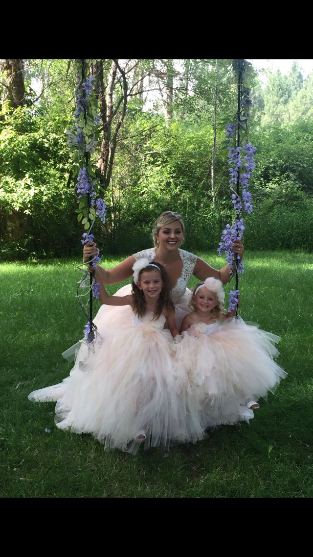 Flower Girls -- beautiful bride & layers of tulle