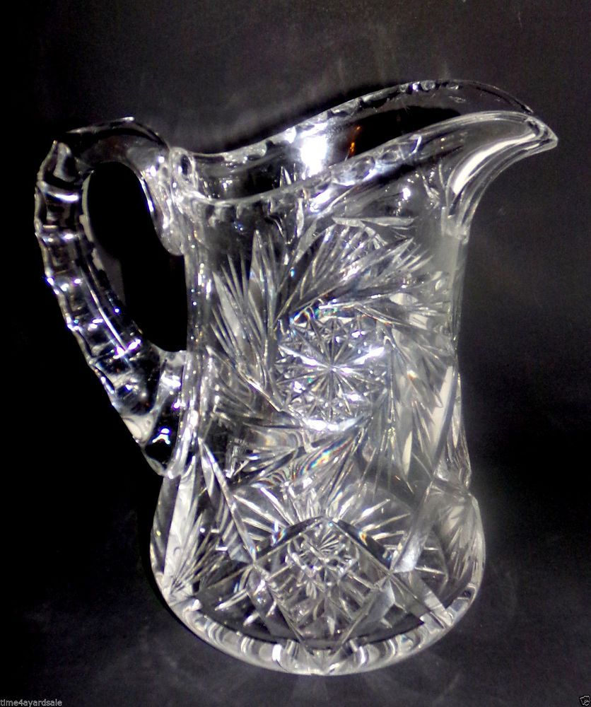 Vintage Lovely Hand Cut Hobstar Europe 24% Lead Crystal Cream Pitcher Pottery & Glass