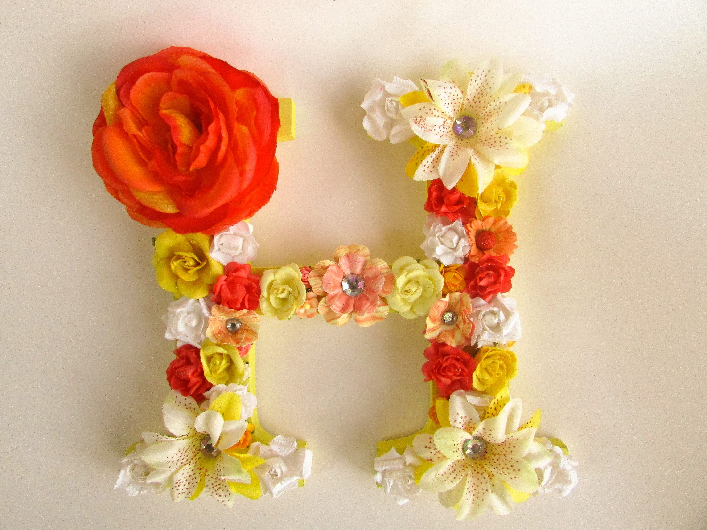 Custom name letter - Flower name letter - Yellow and orange letter H ...