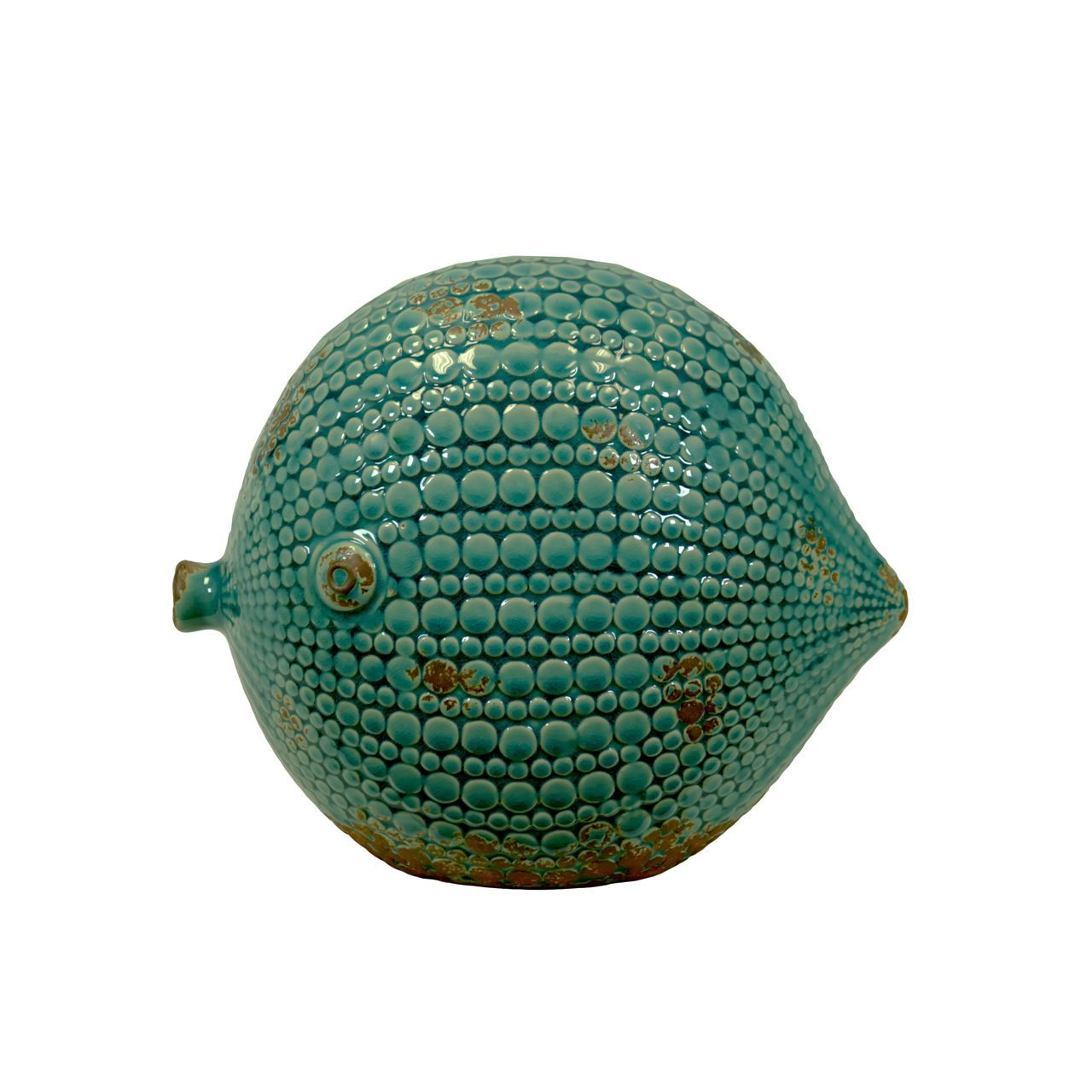 Urban Trends Collection Ceramic Round Fish Figurine Large Distressed Gloss Finish Teal (Ceramic Figurine Gloss Finish Blue)