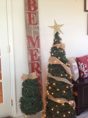 DIY Lighted Christmas Trees (on the Cheap) from tomato cages and