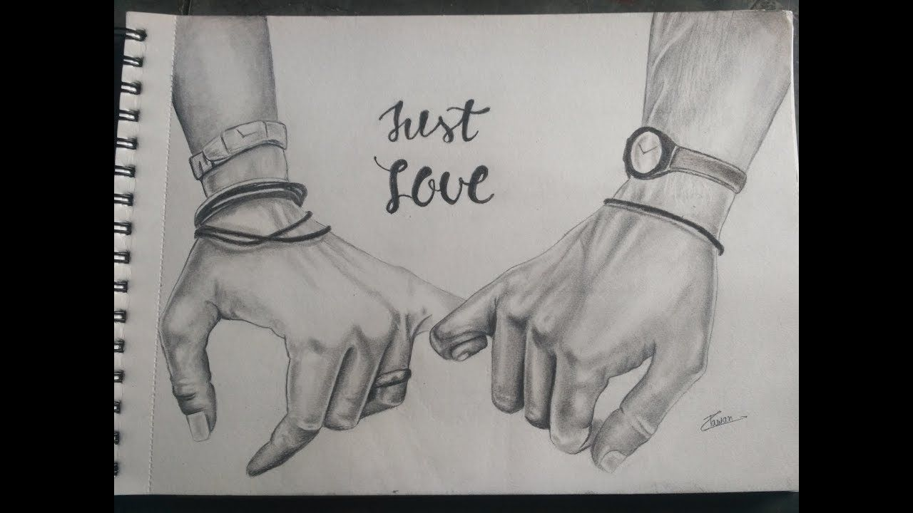 Holding hand drawing couple pencil drawings in 2019 how to draw
