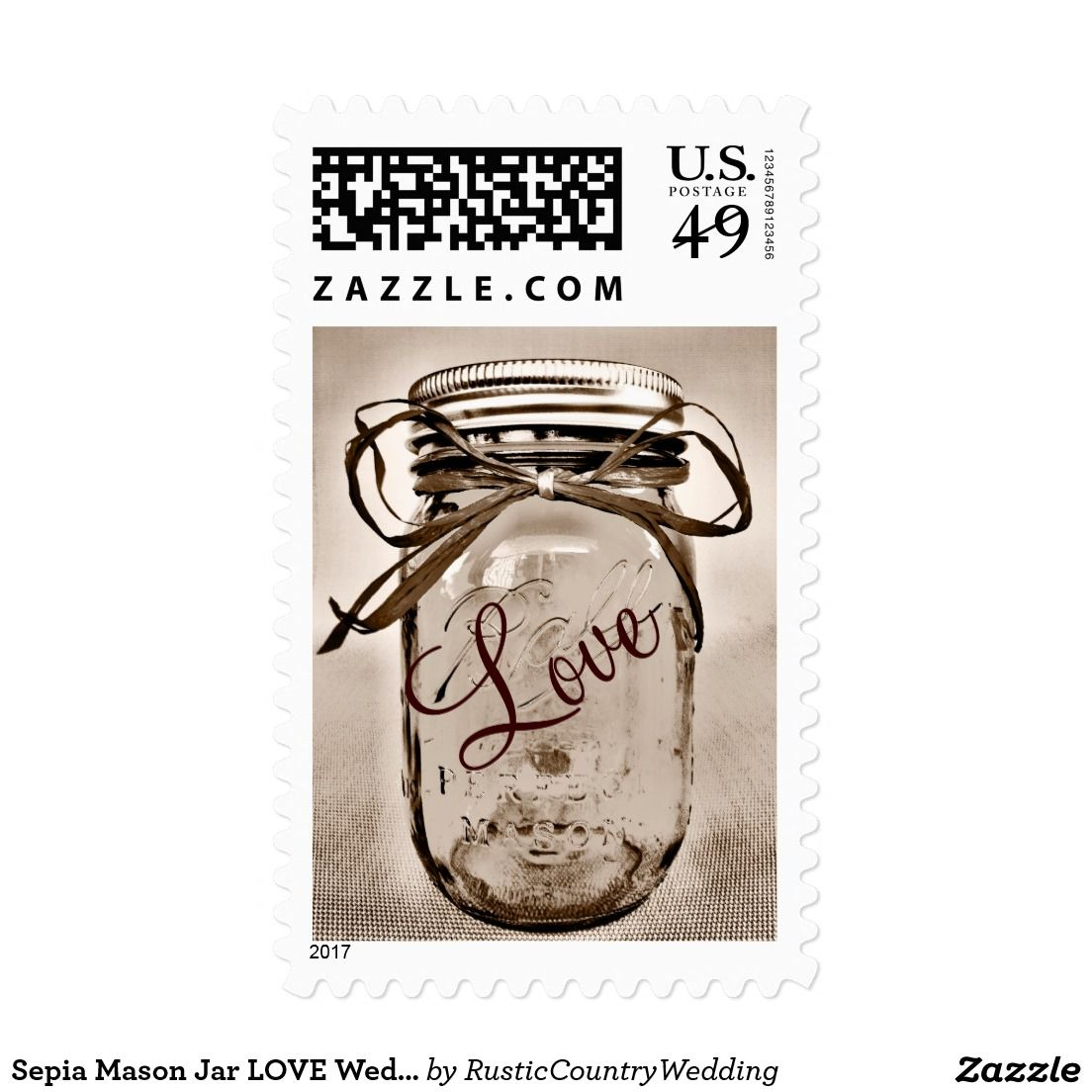 Sepia Mason Jar LOVE Wedding Postage Stamps   Postage stamps, Jars ...