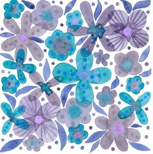 Randi Zafman/Purple & Blue Flowers represented by Liz Sanders Agency