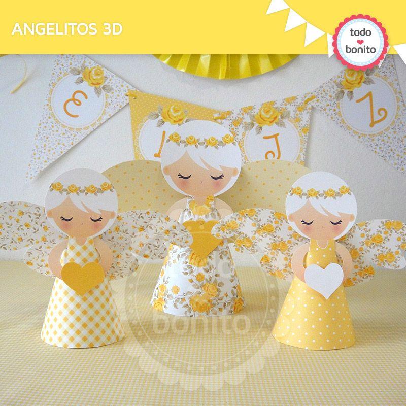 Angelitos 3d en amarillo para primera comuni n de ni as - Manualidades para primera comunion ...