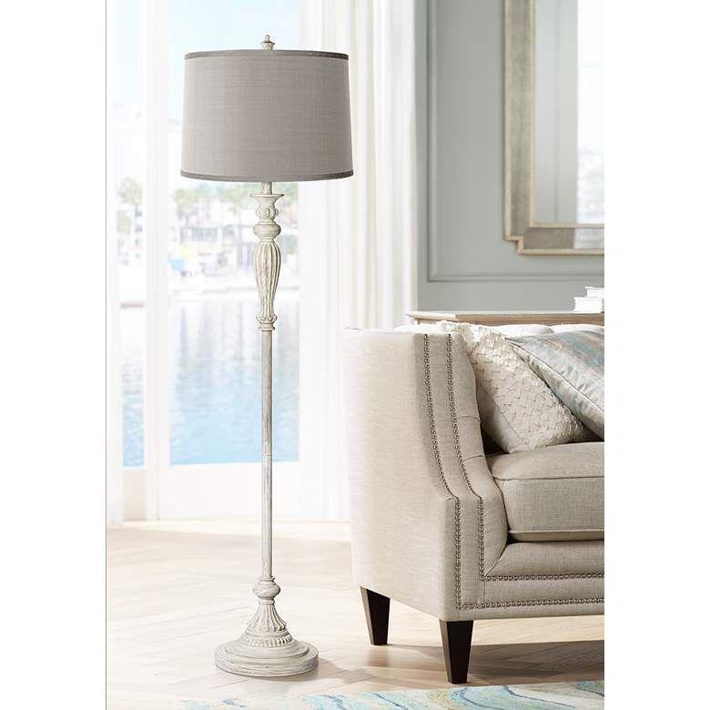 Platinum Gray Shade Vintage Chic Antique White Floor Lamp 17k23 Lamps Plus White Floor Lamp Shabby Chic Floor Lamp Floor Lamp Styles #vintage #living #room #lamps