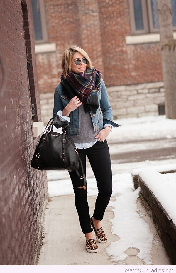 Sweater paired with jean jacket