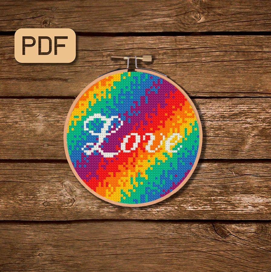 embroidery pattern PDF Rainbow Flag cross stitch pattern PDF XStitch Pattern Feminist Art Lesbian Gay Marriage Gay and lesbian pride