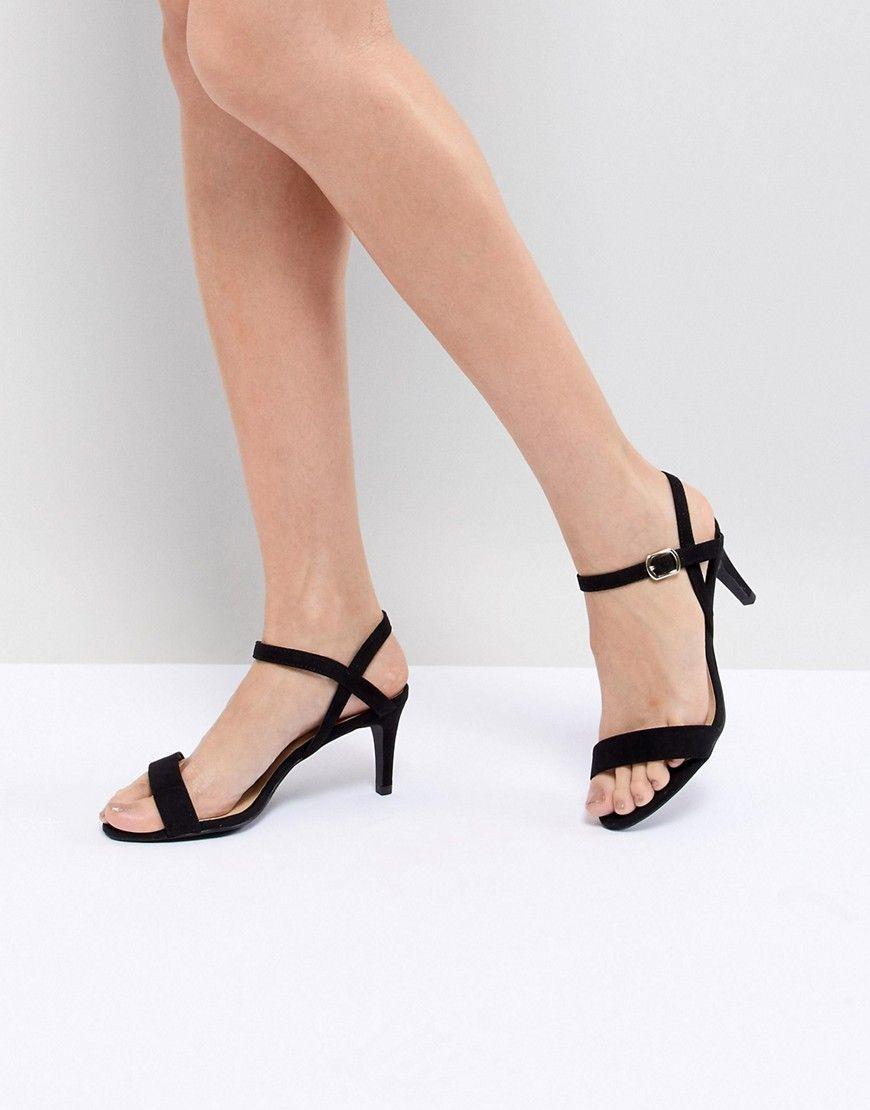 New Look 2 Part Low Heel Sandal Black Sandals Heels Low Heel