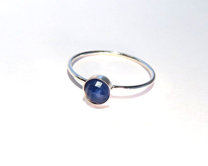 Sapphire Ring, Silver Sapphire Ring, Sapphire stacking ring, September Birthstone Ring, September Gemstone Ring, Silver stacking ring