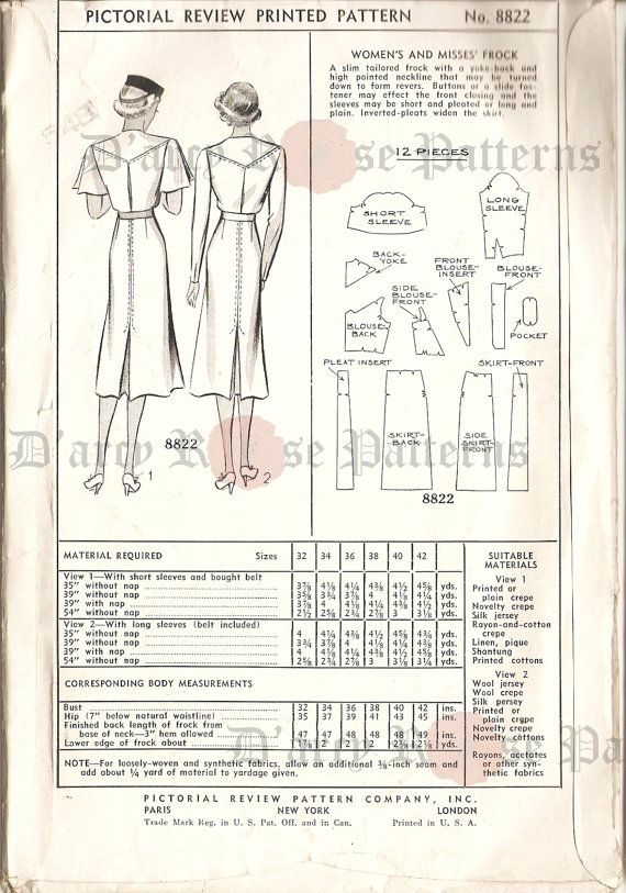 Vintage 1920/'s 1930/'s Pictorial Printed Pattern Art Deco Dress with Collar and Sleeve Variations 40 Bust