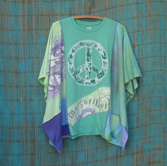 SUMMER SALE, Kaftan Top, Poncho Top, Upcycled Clothing, Peace, Margaritaville, One Size