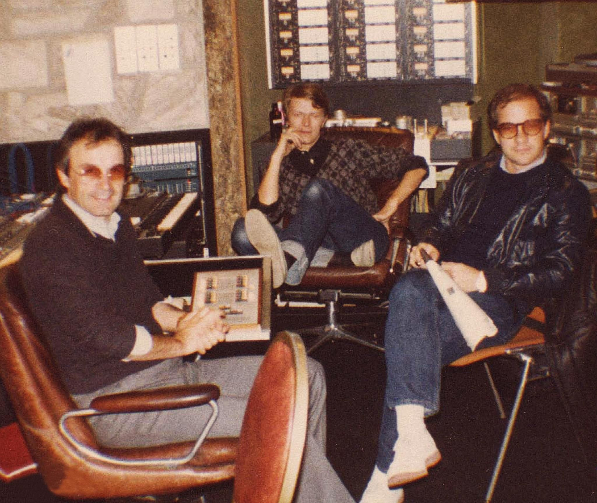 Moroder, Bowie and Schrader in the studio for Cat People. | David bowie,  Bowie, Bowie starman