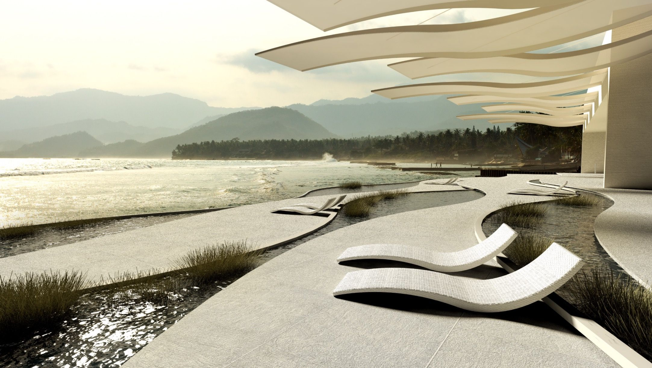 Creation Terrasse Hotel Design Amenagement Exterieur Creation 3d Architecture Benoit Redard Great Wave Architecture Artwork