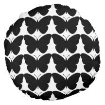 Snuggle_Black-Butterflies-Round-Home-Decor Round Pillow