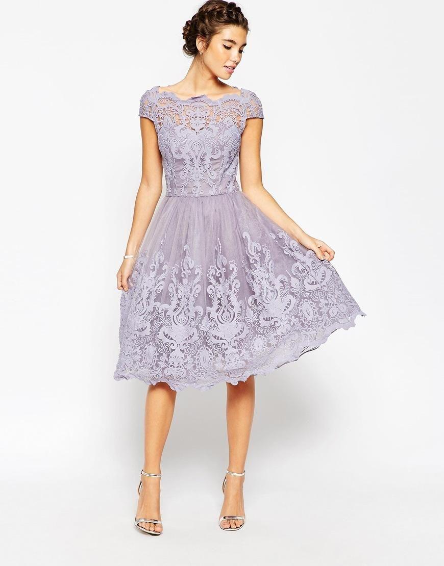 Chi Chi London Chi Chi London Premium Lace Midi Prom Dress With Bardot Neck At Asos Schone Kleider Knielange Kleider Kleider