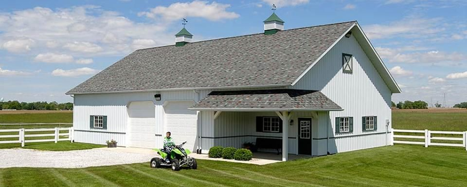 Suburban building profile use pole barn garage for hobby for Barn home builders indiana
