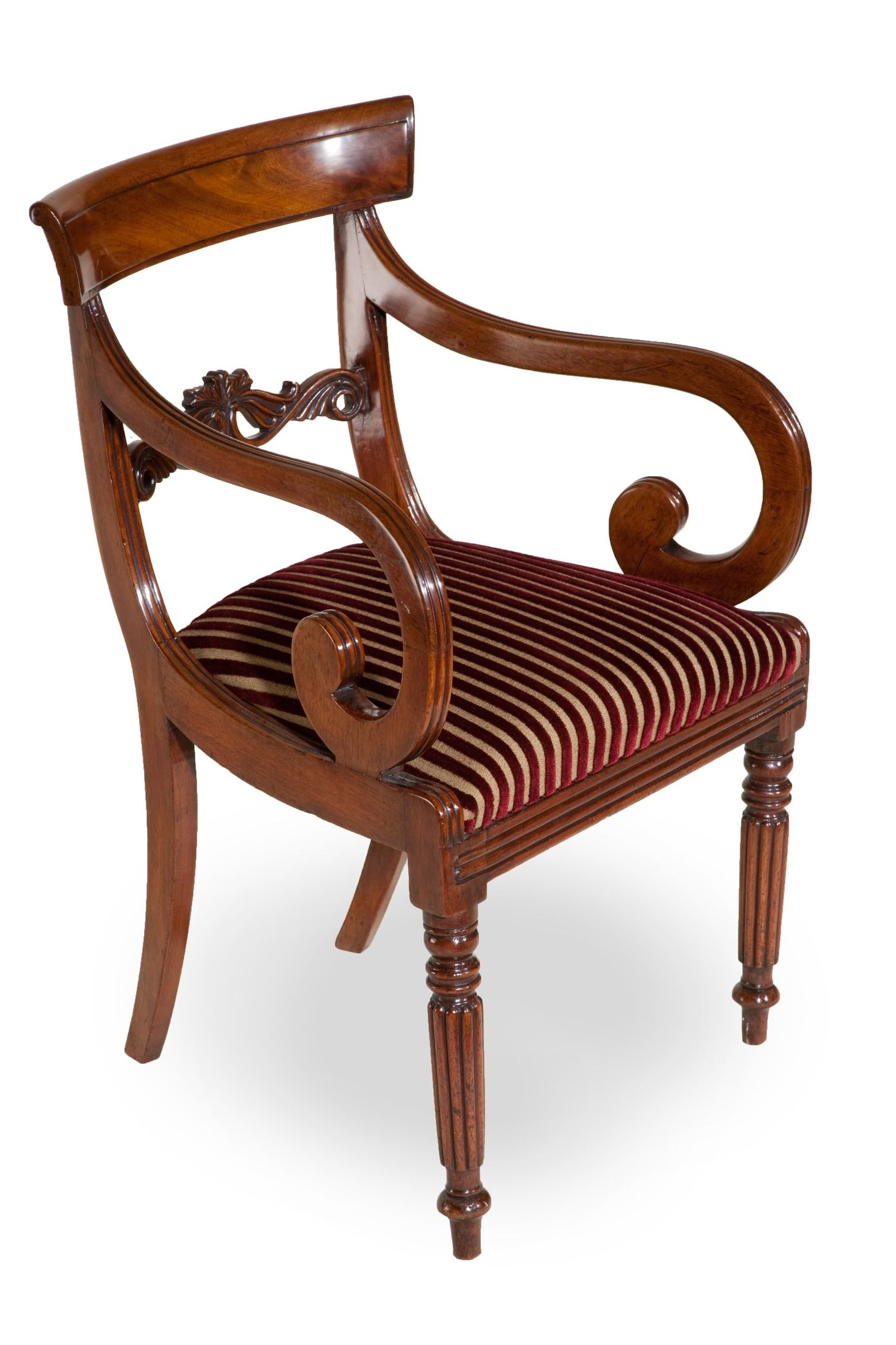 A wonderful eight late Regency mahogany dining antique chair; six sides and  two carvers with scroll arms, all with very nicely carved back splat and  turned ... - Image Detail For -... Of Two Carvers To Set Of Late Regency Dining