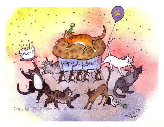 Birthday Cards Cartoon ~ Cat birthday card funny cat greeting card birthday party card cats