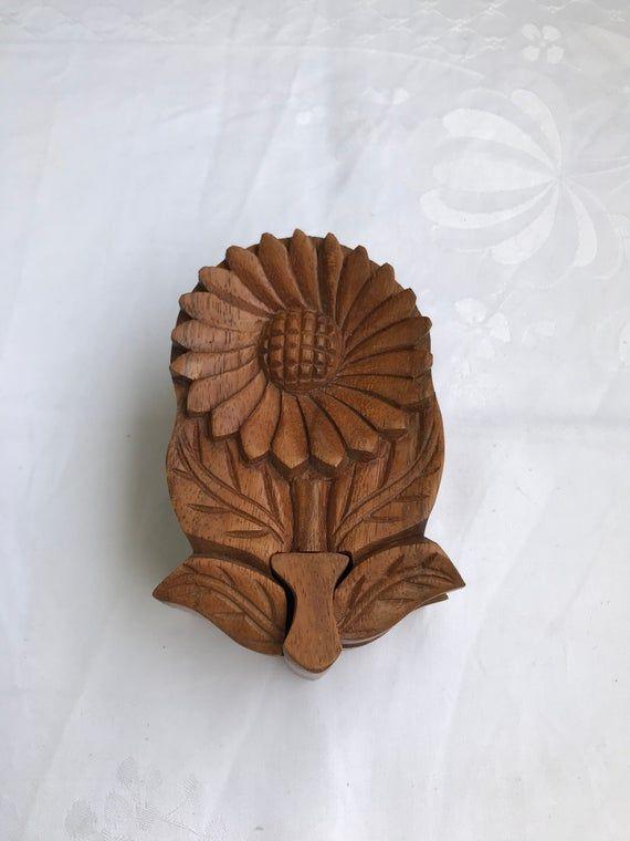 Vintage wooden flower puzzle box-trinket box-wooden Walnut jewelry box-hand crafted figurine-carved wood-keepsake box-hidden stash box #woodenflowerboxes