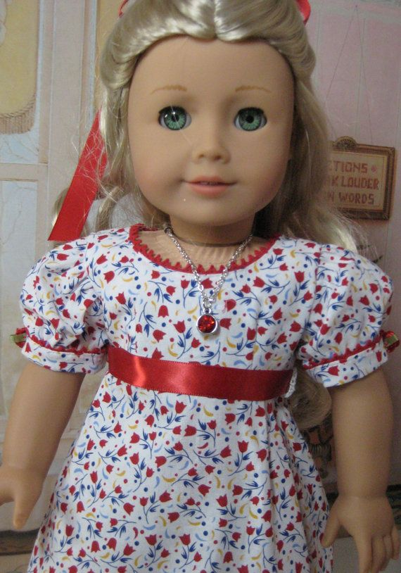 18 inch Doll Clothes American Girl Empire Red Floral Regency  Gown