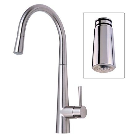 Mayfair Palazzo Glo Brushed Nickel Kitchen Sink Mixer Tap With Led Impressive Designer Kitchen Taps Uk Decorating Design
