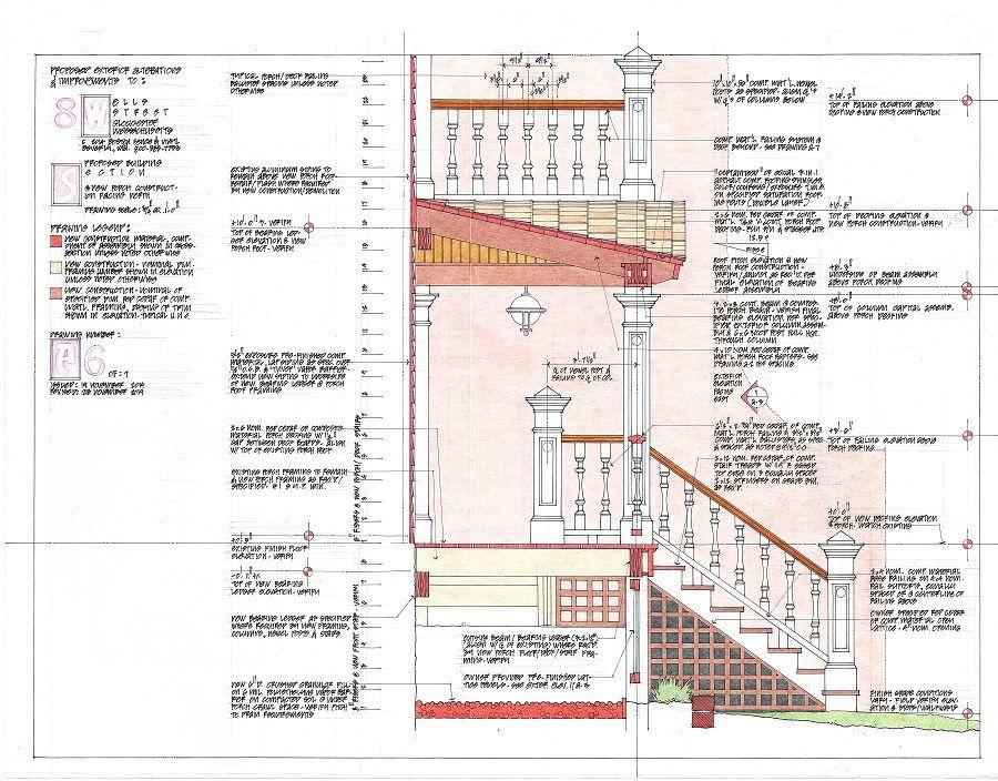 Cross Section through New Porch......design, hand drawn