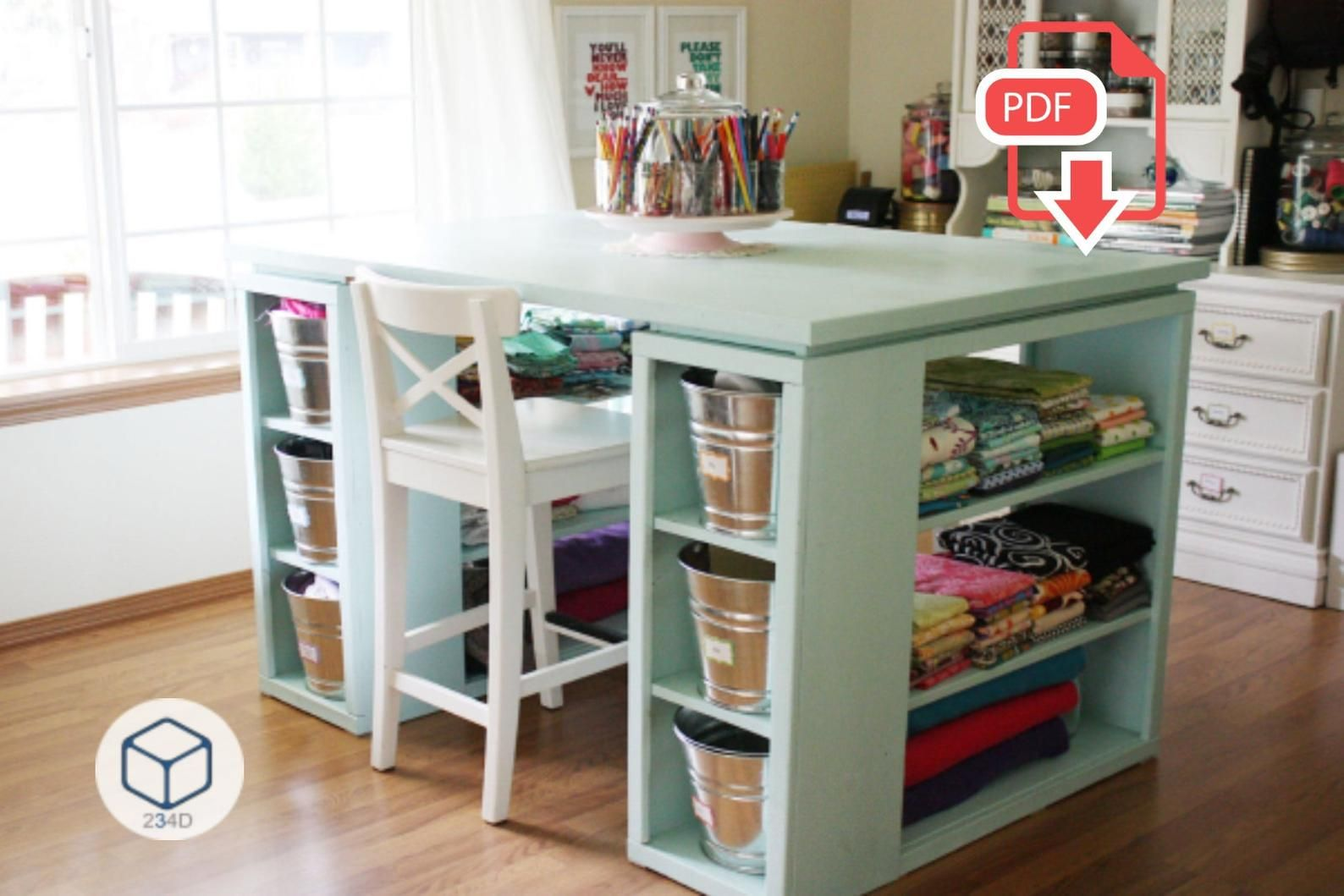 Diy Plans Sewing Craft Table With Storage Etsy Diy Sewing Table Craft Tables With Storage Craft Room Tables