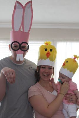 Somebunny and his chicks....love the hats......oh my this is super corny!