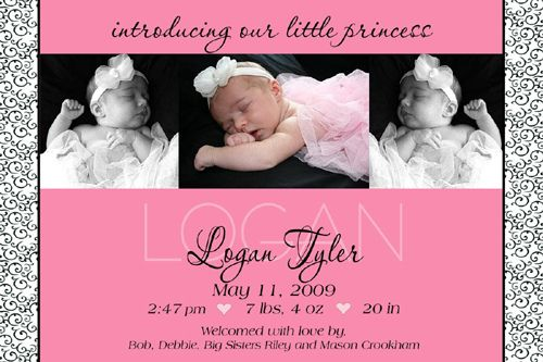 black and pink baby girl birth announcement | babyyy | Pinterest ...