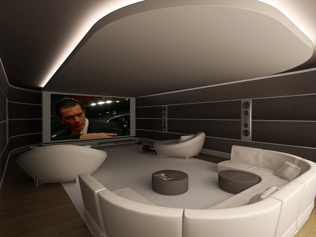 Showroom design contemporary home theater minneapolis by - Contemporary Home Theater With Cove Lighted Ceiling Cloud