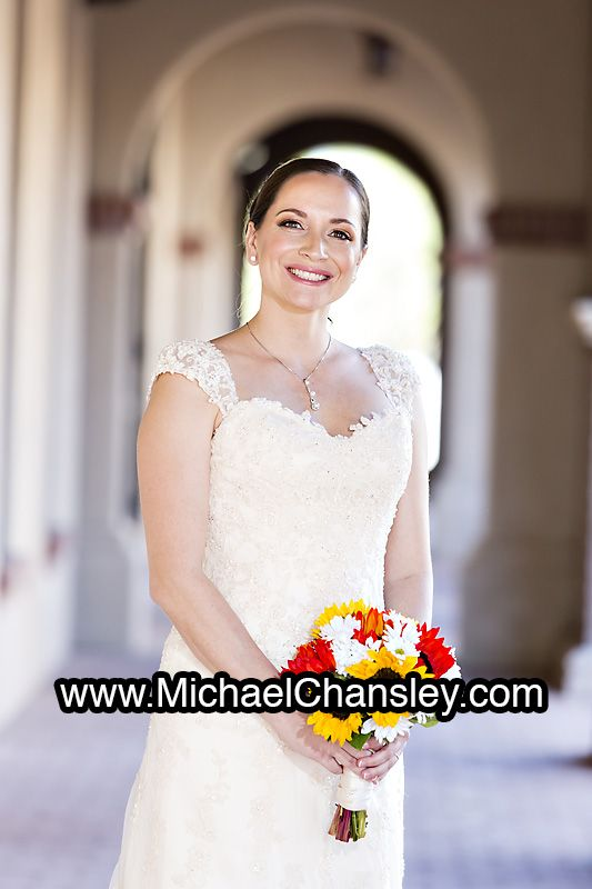 Bride Poses For A Portrait Photo At Corpus Christi Catholic Church In Tucson AZ Arizona By