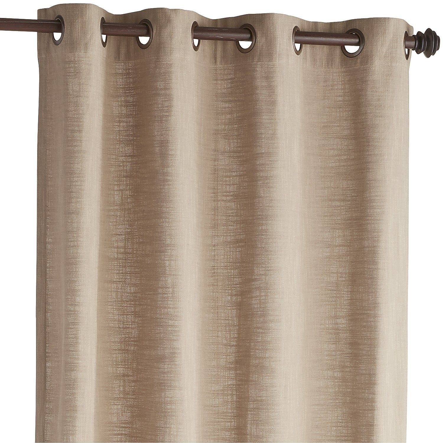 Tan Cassidy Chambray Curtain - Taupe 84""