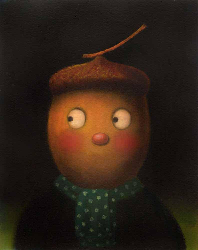 Acorn Head Man Portrait Golden by CuriousPortraits
