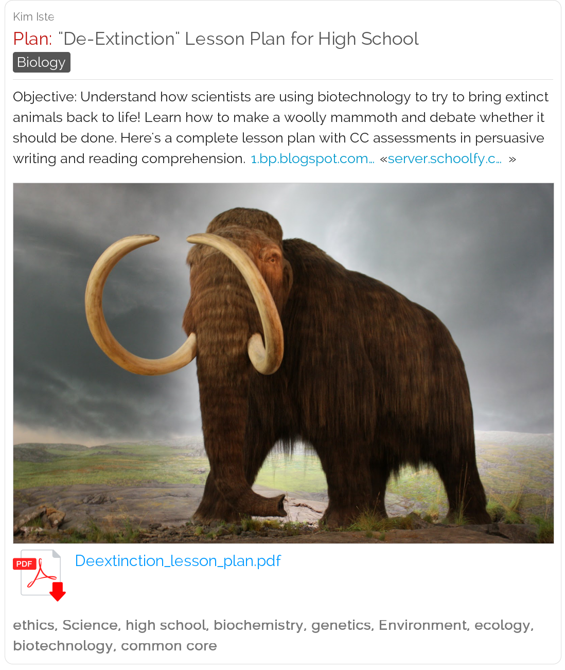 de extinction lesson plan for high school learn how to make a de extinction lesson plan for high school learn how to make a woolly mammoth and debate whether it should be done science lessonplan highsch