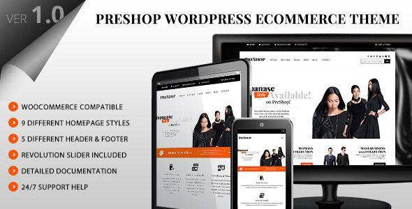 PreShop - Responsive WooCommerce Wordpress Theme | Pinterest