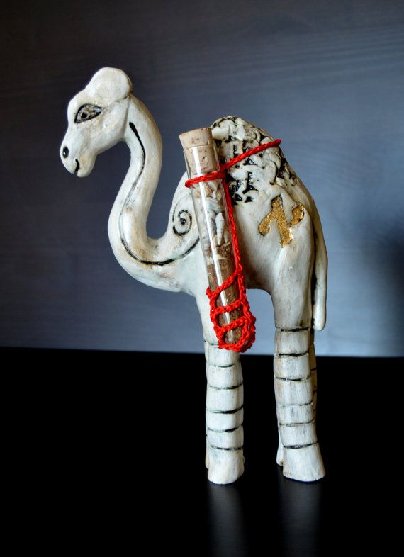 Ceramic Camel  It is my own design , 100% handmade in ceramic with stones and shells from the Holy land painted with angobe.