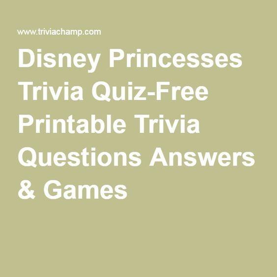 Disney Princesses Trivia Quiz Free Printable Trivia Questions   Free  Printable Quiz  Free Printable Quiz