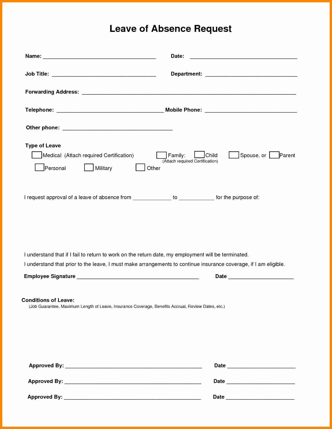 Sick Leave form Template Elegant Employee Sick Leave form Template ...