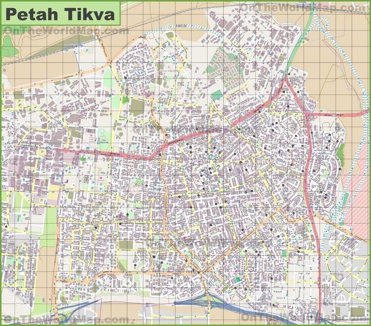 Large detailed map of Petah Tikva Maps Pinterest Israel and City