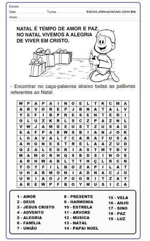Resultado De Imagem Para Caca Palavras Natal Caca Palavras Caca